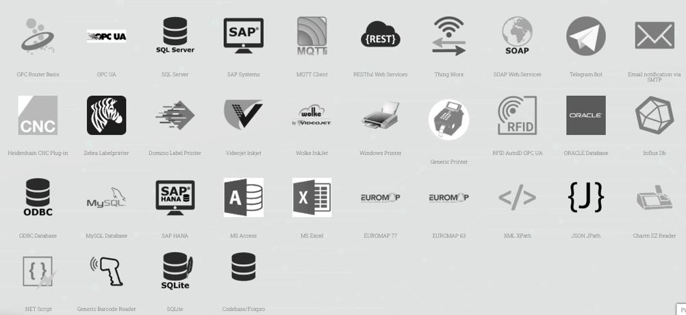 plugins para conectar un ecosistema muy amplio de software y hardware industrial